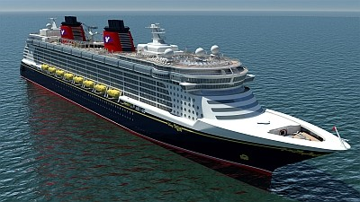 Artist impression van het cruiseschip Disney Fantasy