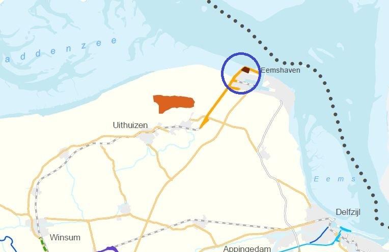 De nieuwe zoeklocatie voor een heliport in het noordwestelijk deel van de Eemshaven