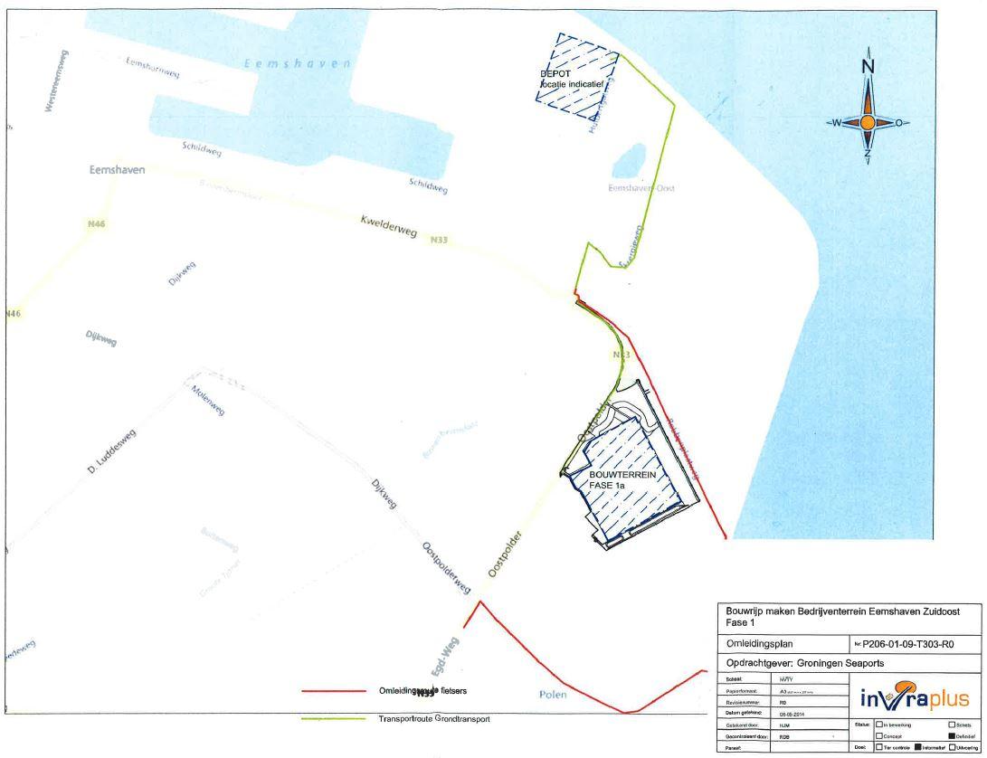 Kaartje omleidingsroute Spijk-Eemshaven