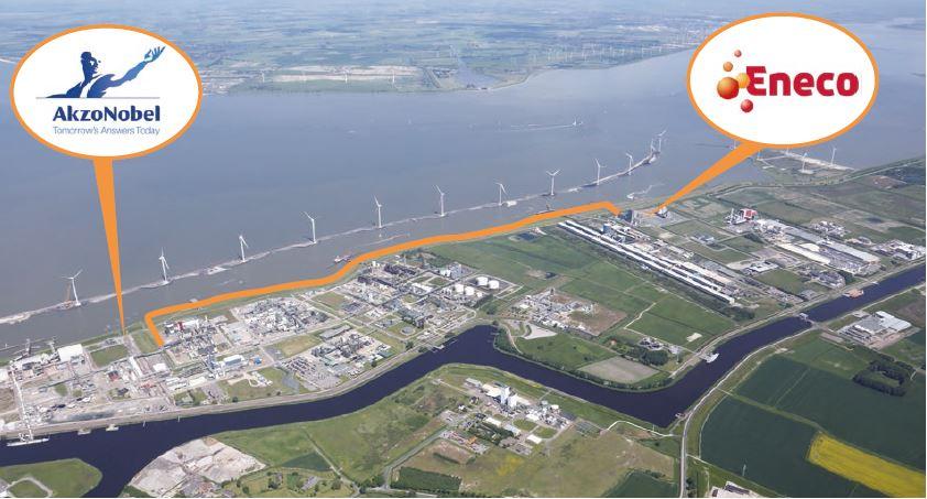 Het tracé van de door Groningen Seaports aangelegde stoomleiding tussen Eneco en AkzoNobel