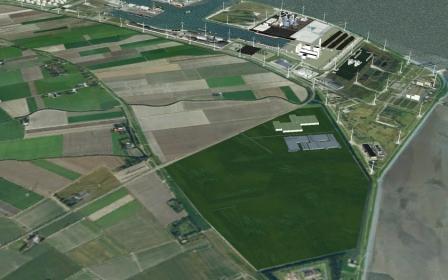 Het groengearceerde deel is het uitbreidingsgebied Eemshaven Zuidoost