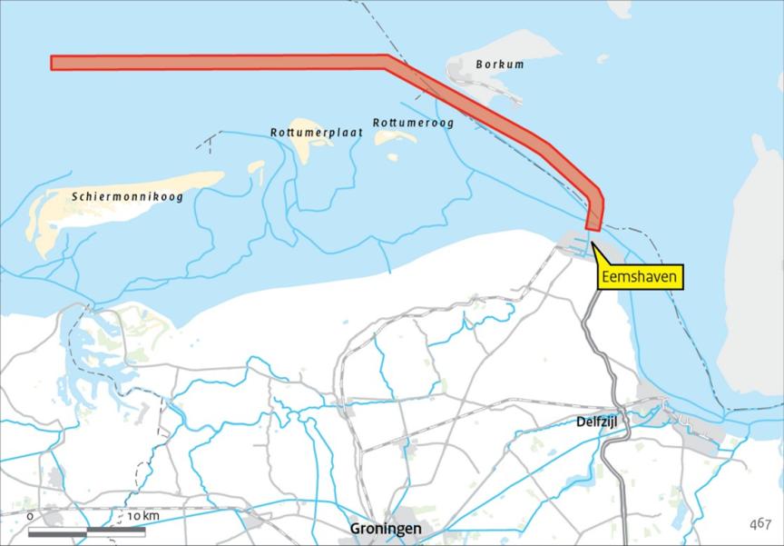 Het tracé van de vaarweg Eemshaven - Noordzee, die na de zomer verruimd wordt