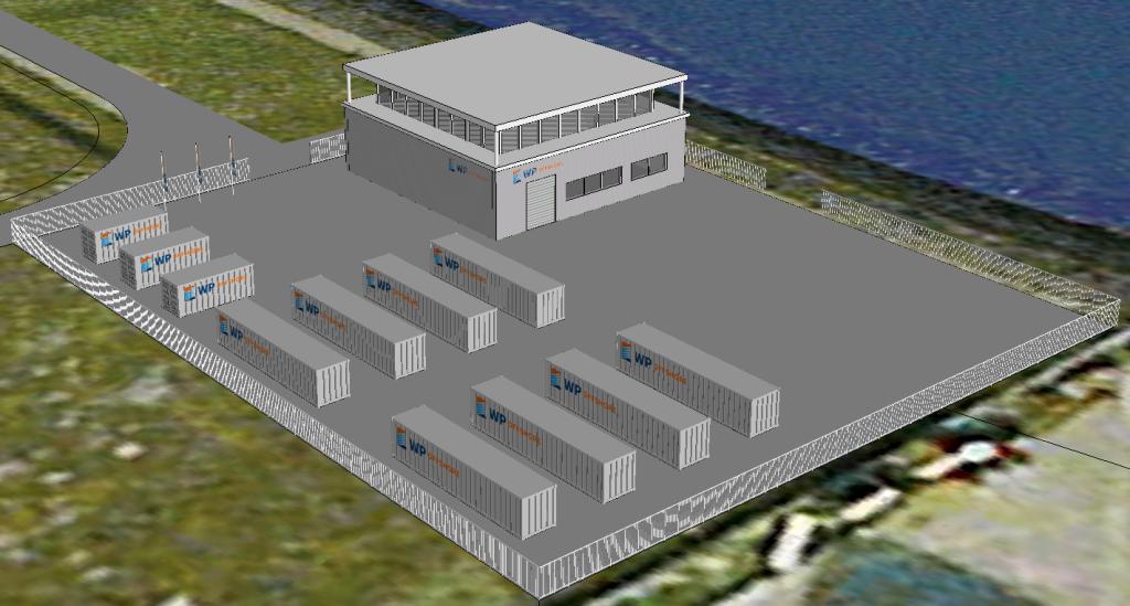 Een impressie van de nieuwbouwlocatie van WP Offshore in de Eemshaven, waarvandaan het bedrijf inspecties en onderhoudswerkzaamheden gaat uitvoeren aan offshore windparken in de Noordzee