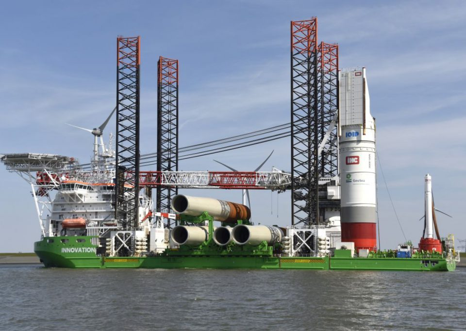 Installation vessel Innovation leaves Eemshaven with the first monopiles for the German wind farm Merkur Offshore (photo Mariska Burema, www.eemshavenonline.nl)