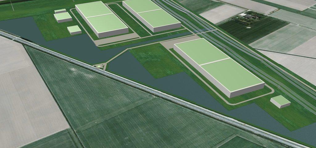 Artist impression van het datacenter van Google in de Eemshaven
